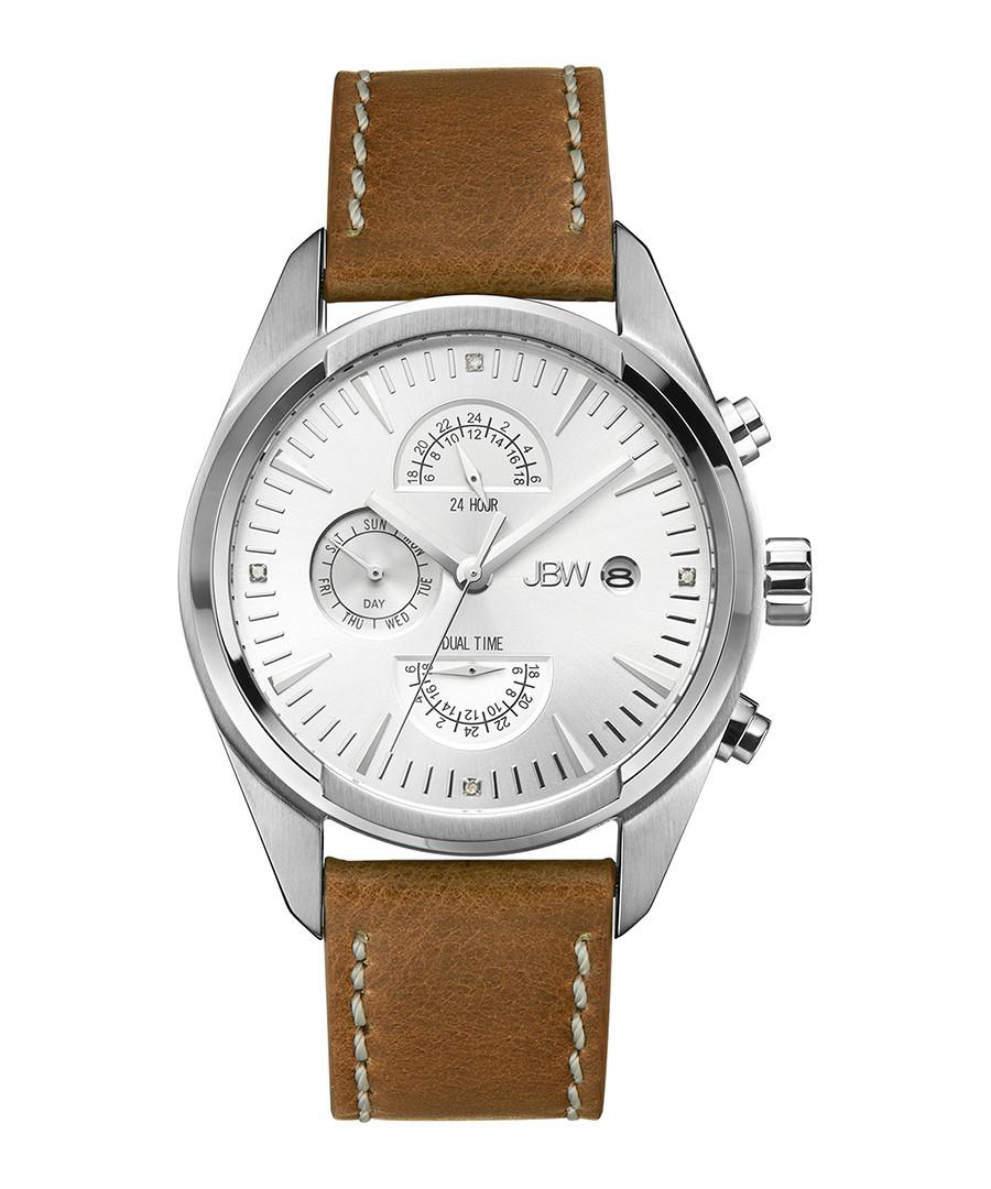 The Woodall diamond & leather watch Sale - jbw