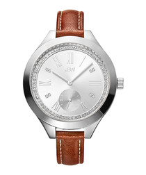 Aria steel, diamond & leather watch