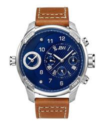 G3 diamond & brown leather watch