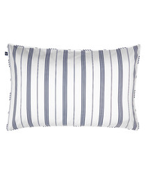 Image of White and navy cottage stripe pillow case