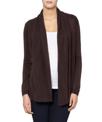 Brown cashmere blend open cardigan