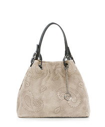 Taupe leather patterned grab bag