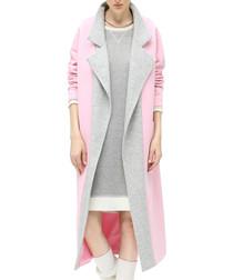 Pink contrast collar longline coat