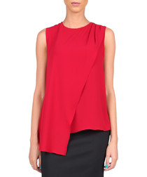 Red asymmetric wrap top