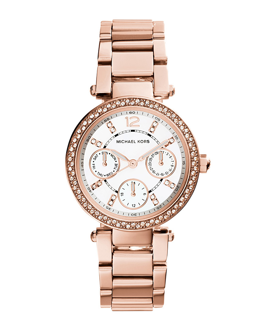 Parker rose gold-tone crystal watch Sale - michael kors