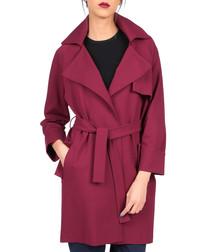 Wine waist-tie coat