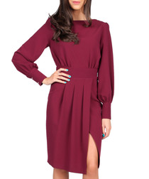 Wine long-sleeved thigh split dress
