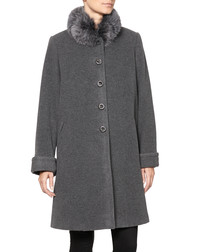 Grey wool & cashmere blend cocoon coat