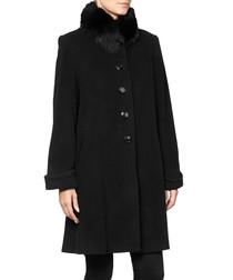 Black wool & cashmere blend cocoon coat
