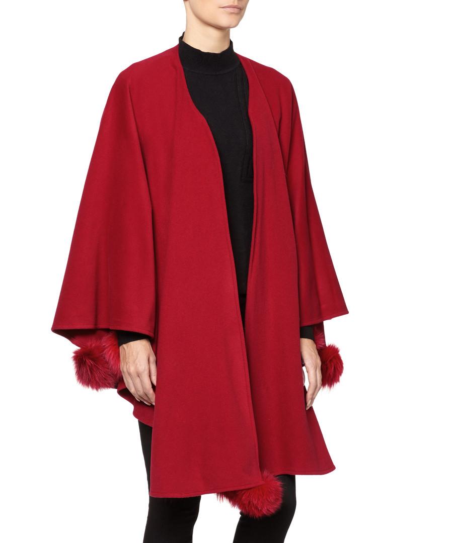 Discount Red Wool Amp Cashmere Pom Pom Cape Secretsales