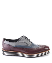 Bordeaux leather striped sole brogues