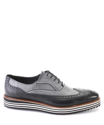 Black & grey leather stripe sole brogues