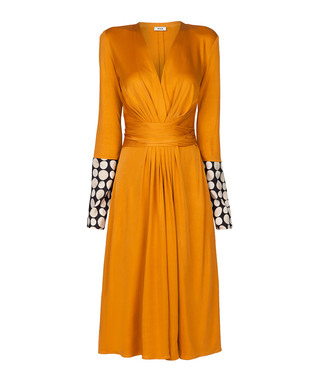 8412f406622 Issa. Penelope saffron spot silk blend dress