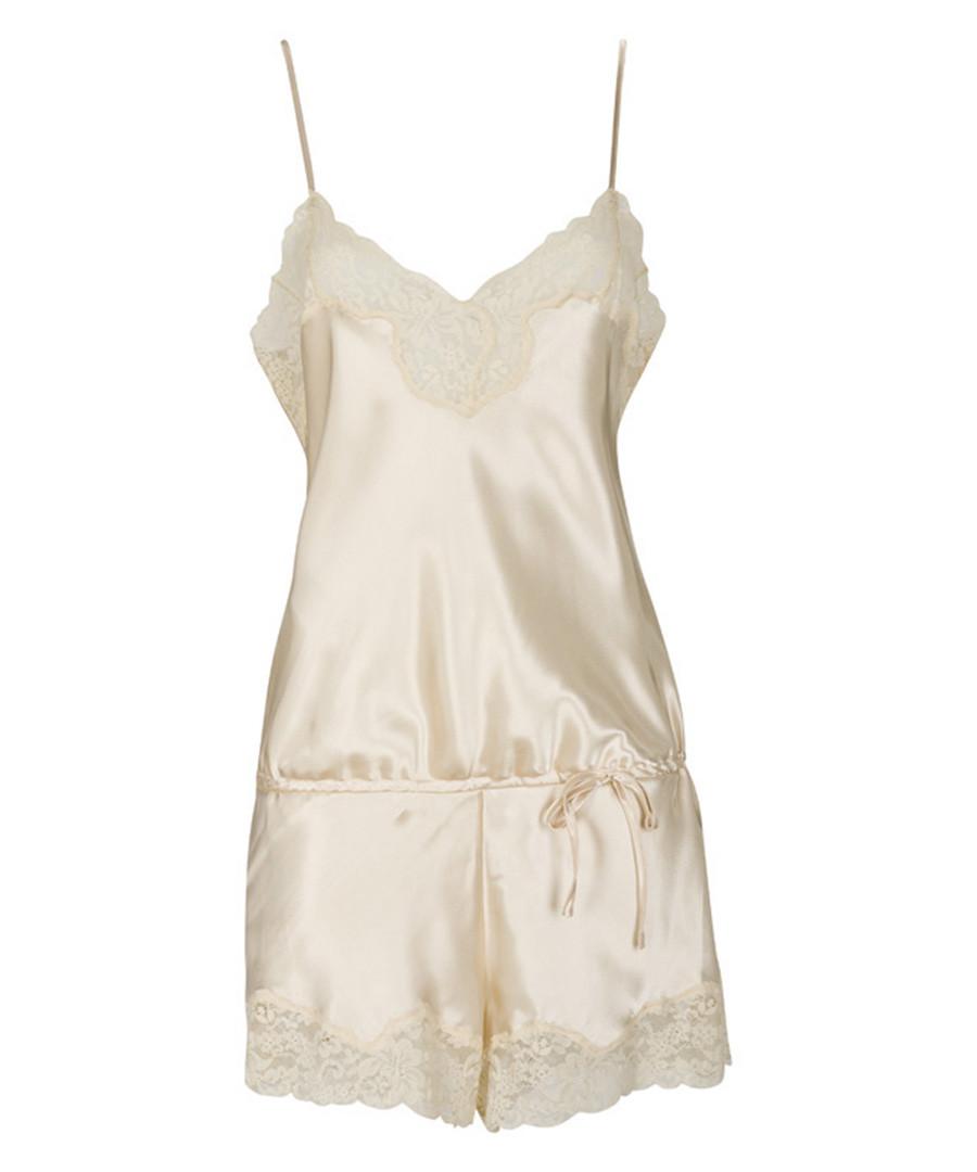 Masato gold satin & lace playsuit Sale - LingaDore