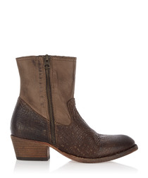 Riley taupe leather ankle boots