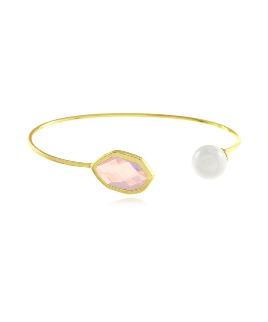 Reflection gold-plated faux pearl bangle Sale - fleur envy