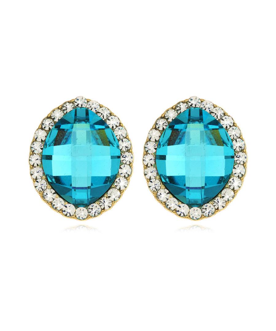 Blue Diva gold-plated crystal earrings Sale - fleur envy