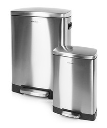 Image of 2pc stainless steel pedal bins