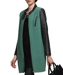 Green & black wool blend coat