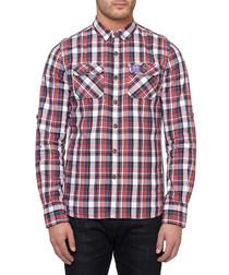 Red & white cotton mini check shirt