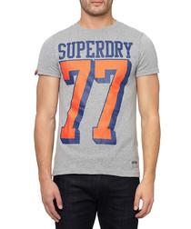 Grey '77' cotton blend T-shirt