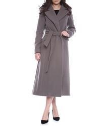 Charcoal wool blend longline coat
