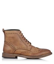 Boston tan leather brogue boots