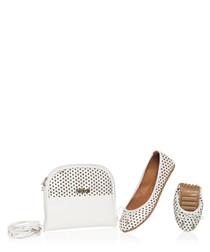 White dot leather foldable flats & bag