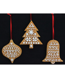 Image of 3pc gingerbread tree decorations