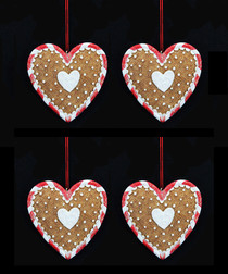 Image of 4pc gingerbread heart decorations