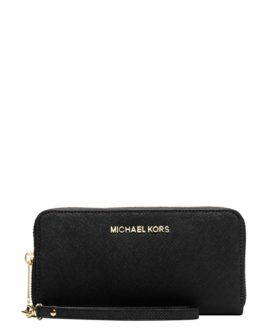michael kors jet set black leather travel wallet designer accessories sale michael kors. Black Bedroom Furniture Sets. Home Design Ideas