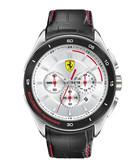 Gran Premio silver-tone & leather watch