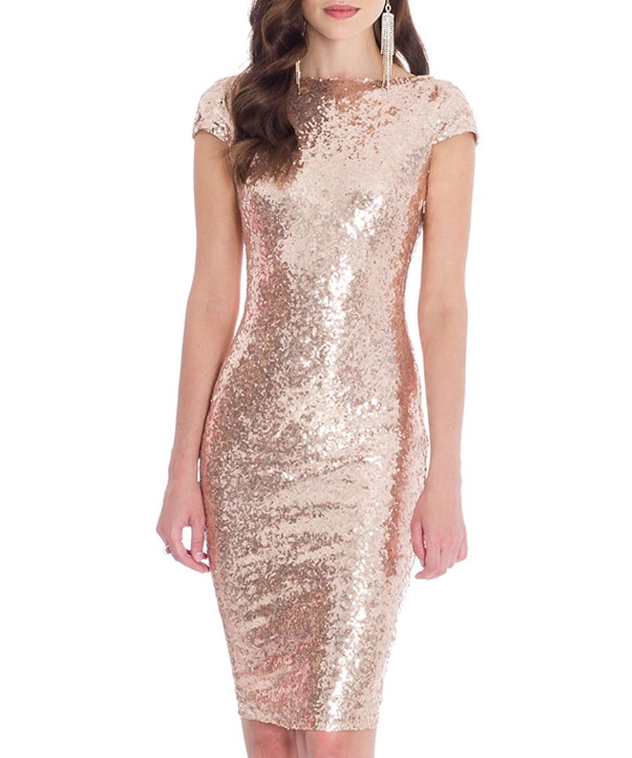 Goddiva champagne sequin mini dress designer dresses sale for Champagne seguin