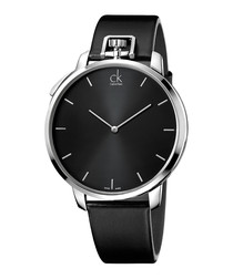 Exception black leather watch