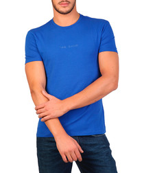 Scuba blue cotton blend T-shirt