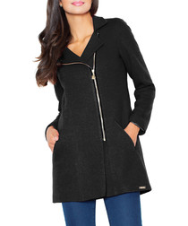 Black wool blend biker-style coat