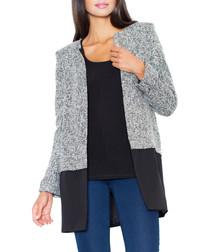 Grey & black contrast collarless coat
