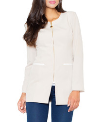 Ecru & beige zip-up blazer