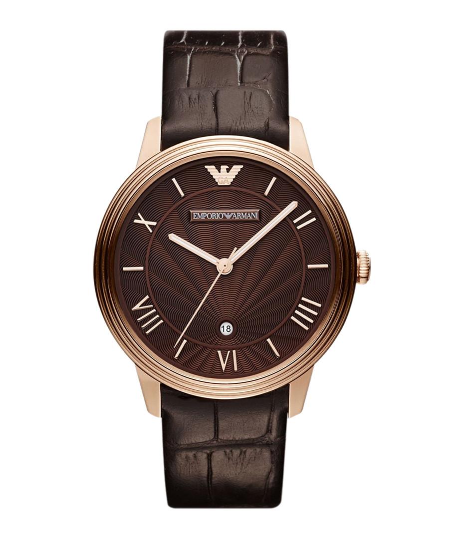 Brown moc-croc leather strap watch Sale - Emporio Armani