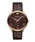 Brown moc-croc leather strap watch Sale - Emporio Armani Sale