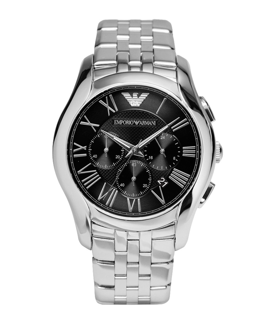 Stainless steel & black numeral watch Sale - emporio armani