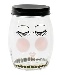 Image of Large clear eyes print cylinder jar