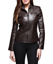 Women's Any Waxy brown leather jacket
