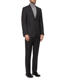 2pc grey pure wool pinstripe suit