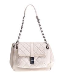 Accordion leather flap shoulder bag