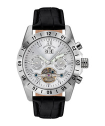 Galactique silver-tone & leather watch