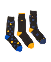 3pc Banchory black cotton blend socks