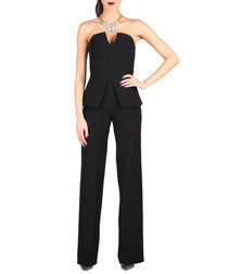 Black strapless peplum jumpsuit