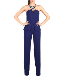 Royal blue strapless peplum jumpsuit