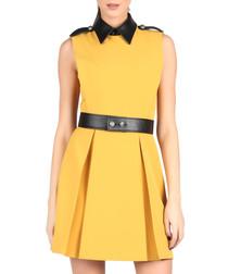 Mustard leather-effect collar dress